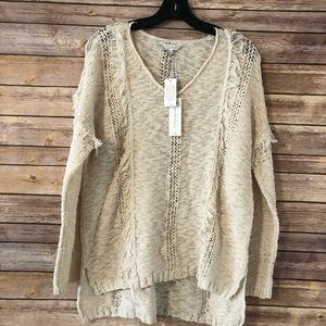 Lucky brand lightweight fringe sweater cream color